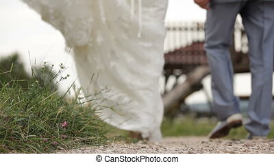 nieuw weds, wandelende, hand