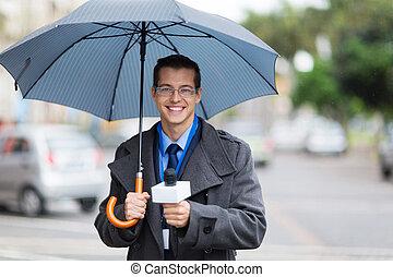nieuws, leven, radiouitzending, regen, reporter