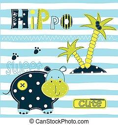 nijlpaard, achtergrond, schattig