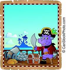 nijlpaard, scheeps , zeerover, perkament