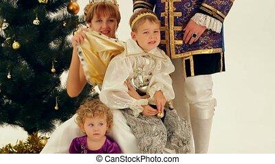 nobles, gezin, vrolijke