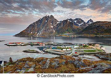 noorwegen, zonopkomst, sund, dorp
