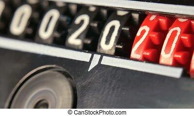 numbers., 2018-2024, timer., toonbank, jaar, aftellen, set, digitale , nieuw