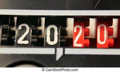 numbers., 2018-2025, set, timer., toonbank, jaar, aftellen, digitale , nieuw