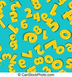 numbers., illustratie, vector, seamless, jubileum, model