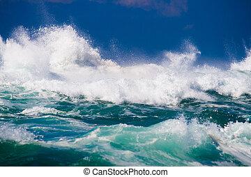 oceaan, machtig, golf