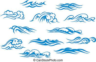 oceaan, zee, golven