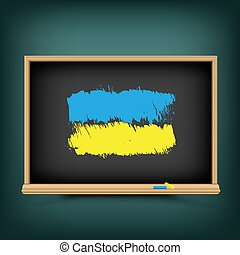 oekraïne, bord, trekken, vlag, school