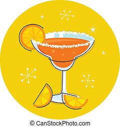 of, cocktail, retro, fruit, vrijstaand, margarita, citrus, drank
