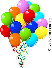 of, feestje, verjaardag viering, ballons