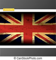 of, flag., grunge, dommekracht, verenigd, unie, koninkrijk