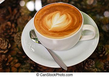 of, hart, cappuccino, latte, koffie, vorm