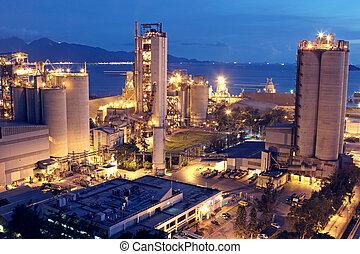of, industrie, zware, bouwsector, industry., beton, fabriek, plant, cement