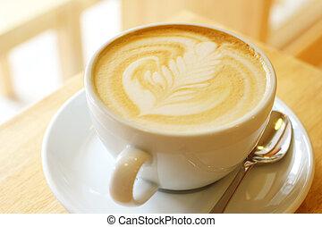of, kunst, kop, cappuccino, latte, koffie