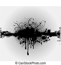 of, plaint, splatter., grungy, vector, inkt