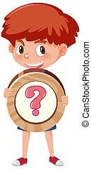of, spotprent, basis, vrijstaand, achtergrond, jongen, meldingsbord, karakter, vasthouden, wiskunde, witte , symbool, student