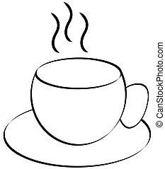 of, steaming, theekop, koffie
