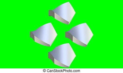 of, thema, metalen, hexagone, rond het draaien, hoofdspil, animatie, groene, vorm, geanimeerd, scherm, zilver, element, eenvoudig, logotype, techno, schroef, scherm, zoals