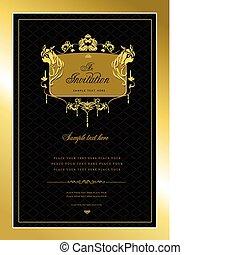 of, uitnodiging, card., goud, trouwfeest, v