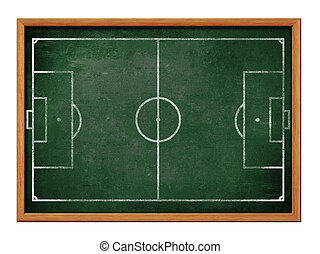of, voetbal, formatie, bord, voetbalelftal, drawing., akker