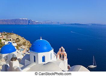 (oia), kerk, santorini, griekenland