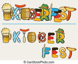 oktoberfest, tekst, illustratie, vrijstaand, lettersl., vector, bier, ontwerp, witte