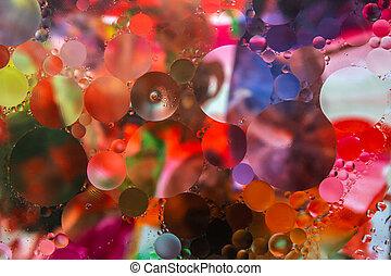 olie, achtergrond, circles., water, kleurrijke, abstract