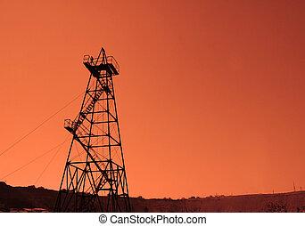 olie, baku, -, azerbaijan, boortoren, ondergaande zon , gedurende