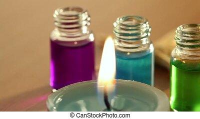 olie, flessen, kleur, kaarsjes, twee, branden, aroma, weinig, leggen, zee ster, open