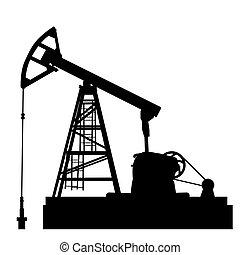 olie, illustration., industrie, equipment., pomp, vector, jack.