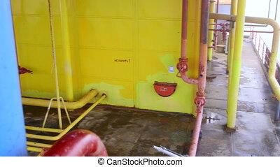 olieplatform, gas, uitrusting, fabriekshal, voor de kust