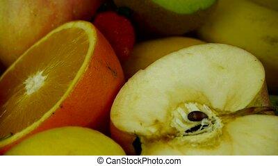 omwenteling, fruit, plaat., heerlijk