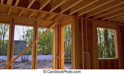 onder, interieur, het ontwerpen, balk, bouwsector, thuis huis, nieuw