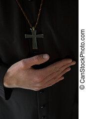 onder, kruisbeeld, handen