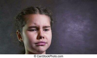 onder spanning, stroom, meisje, tiener, verticaal, problemen, schreeuwen, gehuil