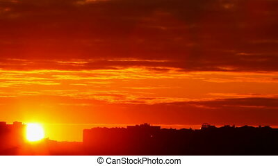 ondergaande zon , achtergrond, stad