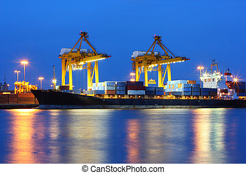 ondergaande zon , industriebedrijven, porto, expeditie, thailand, bangkok