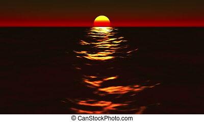ondergaande zon , lo, mooi, zonopkomst, &, oceaan