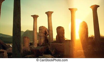 ondergaande zon , oud, roman ruïnes, tempel