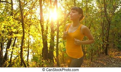 ondergaande zon , rennende , vrouw, park