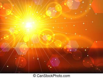ondergaande zon , rode achtergrond