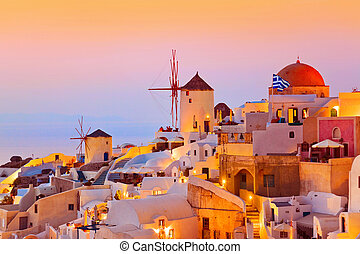 ondergaande zon , santorini, (oia), -, griekenland