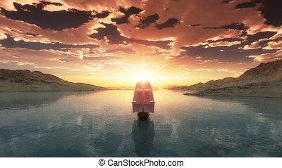 ondergaande zon , zee