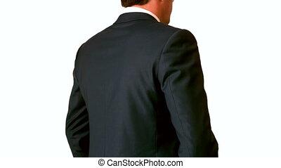 onderste, zijn, back, zakenman, pijnlijk, aandoenlijk
