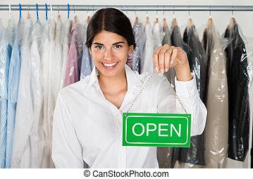 ondertekenen plank, vrouwlijk, eigenaar, open, winkel