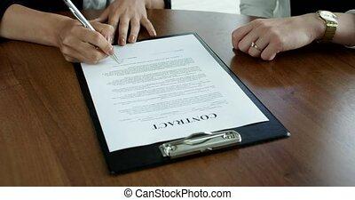 ondertekening, handel contract, vrouwen