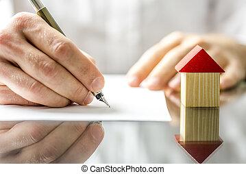 ondertekening, woning, wanneer, contracteren, nieuw, aankoop, man