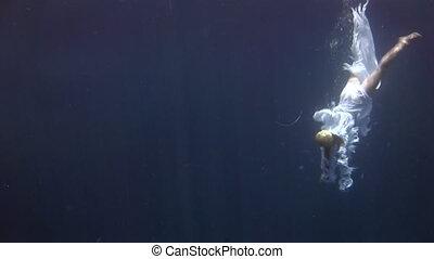 onderwater, engel, jonge, kosteloos, meisje, model, kostuum, witte , maniertjes, duiker, rood, sea.
