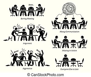 ondoelmatig, discussion., hebben, ondoeltreffend, vergadering, stafmedewerkers