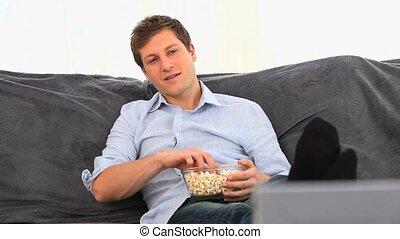 ongedwongen, man, popcorn, eten